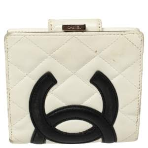 Chanel White/Black Quilted Leather Cambon Ligne Wallet