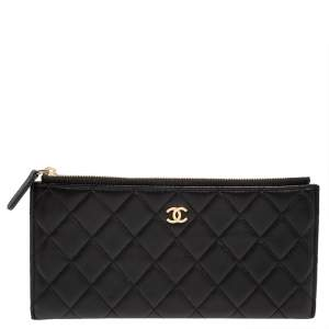 Chanel Black Quilted Leather Flat  Zip Wallet