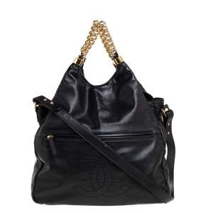 Chanel Black Leather Rodeo Drive Hobo