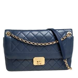 Chanel Blue Quilted Leather Chic With Me Large Flap Shoulder Bag