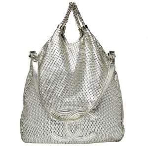 Chanel Metallic Silver Perforated Leather Large Rodeo Drive Hobo