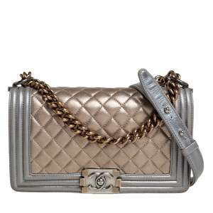 Chanel Metallic Gold/Silver Quilted Leather Medium Boy Flap Bag