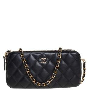 Chanel Black Quilted Leather WOC Double Zip Wallet on Chain