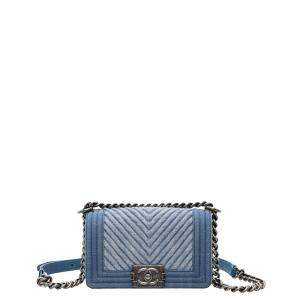 Chanel Blue Denim Chevron Boy Small Flap Crossbody Bag