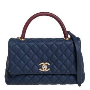 Chanel Navy Blue /Burgundy Caviar Leather and Lizard Medium Coco Top Handle Bag