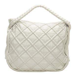 Chanel White Diamond Stitch Lambskin Leather Tote Bag