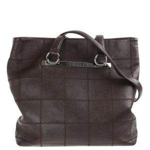 Chanel Brown Leather Square Quilt Tote Bag