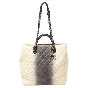 Chanel Cream/Grey Ombre Quilted Caviar Leather Shopping Tote