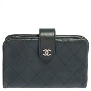 Chanel Teal Green Quilted Lambskin Leather CC French Wallet