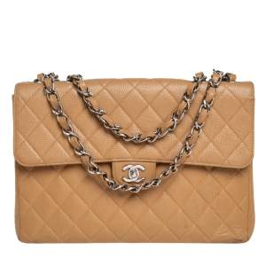 Chanel Beige Quilted Caviar Leather Jumbo Vintage Classic Single Flap Bag