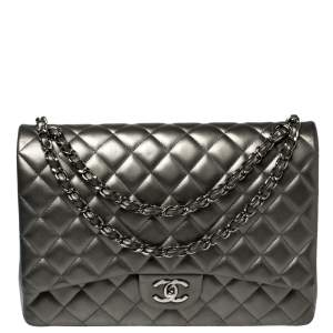 Chanel Metallic Grey Quilted Leather Maxi Classic Double Flap Bag