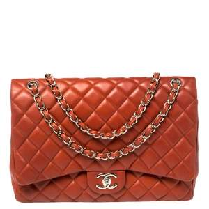 Chanel Copper Quilted Caviar Leather Maxi Classic Double Flap Bag