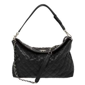 Chanel Black Quilted Caviar Leather French Riviera Bag