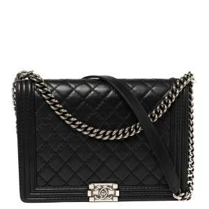 Chanel Black Quilted Leather Large Wild Stitch Boy Flap Bag