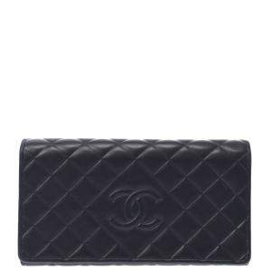 Chanel Black Lambskin Leather Wallet