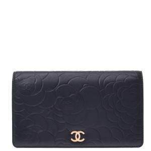Chanel Black Leather Camellia Wallet