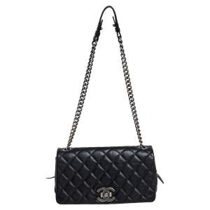 Chanel Black Quilted Goatskin Leather Medium City Rock Flap Bag