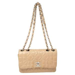 Chanel Beige Geometric Flower Quilted Leather CC Flap Bag
