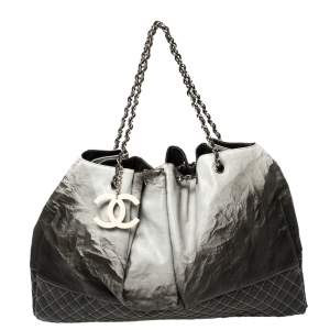 Chanel Black/Grey Quilted Vinyl Melrose Degrade Cabas Tote