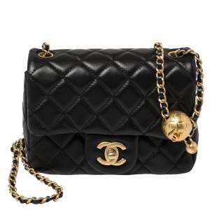 Chanel Black Quilted Leather Mini Square Charm Strap Flap Bag