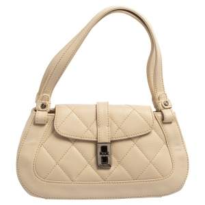 Chanel Cream Quilted Leather Mademoiselle Lock Flap Bag