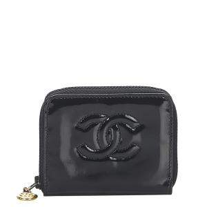 Chanel Black CC Patent Leather Coin Pouch