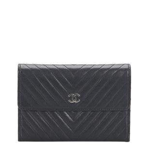 Chanel Black CC Chevron Leather Small Wallet