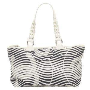 Chanel Black/White Camellia Flower Beach Canvas Tote Bag