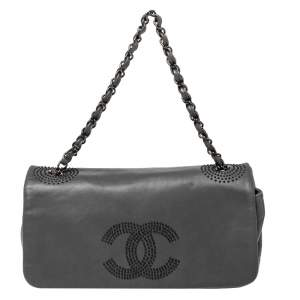 Chanel Grey Lambskin Leather Studded CC East West Flap Bag