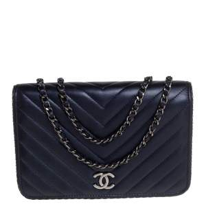 Chanel Navy Blue Chevron Lambskin Leather Studded Wallet On Chain