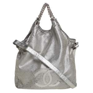 Chanel Silver Leather Perforated Rodeo Drive Grand Shopping Hobo