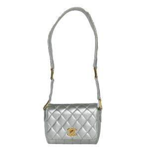 Chanel Silver Leather Vintage Shoulder Bag