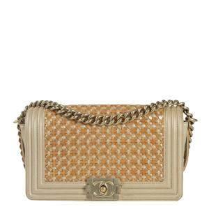 Chanel Beige Leather Boy Shoulder Bag