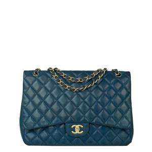 Chanel Blue Leather Timeless Shoulder Bag