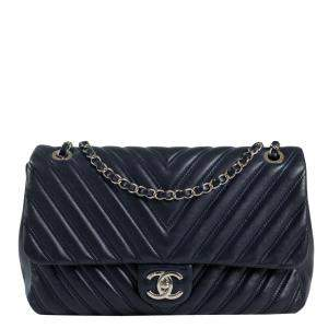 Chanel Blue Leather Timeless Chevron Shoulder Bag