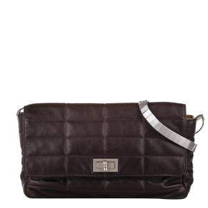 Chanel Brown Lambskin Leather Choco Bar Reissue Flap Bag
