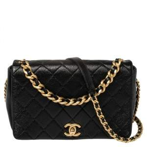 Chanel Black Glazed Leather Chain Handle Flap Bag