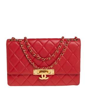 Chanel Red Quilted Lambskin Leather Large Golden Class Flap Bag