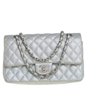 Chanel Silver Quilted Perforated Lambskin Leather Medium Classic Double Flap Bag