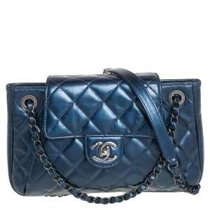 Chanel Blue Glazed Leather Paris Seoul Accordion Flap Bag