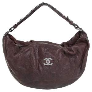 Chanel Dark Brown Caviar Leather Outdoor Ligne Hobo
