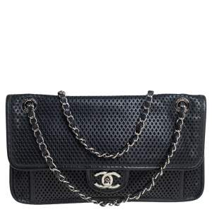 Chanel Black Perforated Leather Up in the Air Flap Shoulder Bag