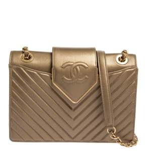 Chanel Metallic Brown Chevron Collar and Tie Flap Bag