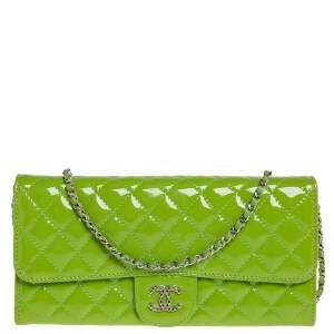 Chanel Pear Green Quilted Patent Leather CC Flap Chain Clutch