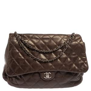 Chanel Dark Brown Quilted Leather Maxi 3 Accordion Flap Bag