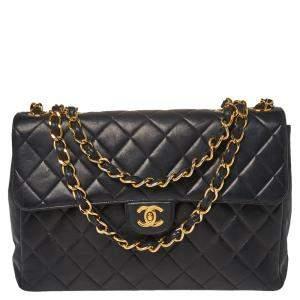 Chanel Black Lambskin Quilted Jumbo Single Flap Bag