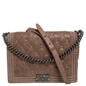 Chanel Beige Chesterfield Quilted Nubuck Leather Large Boy Flap Bag