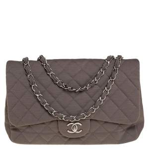 Chanel Dark Beige Quilted Jersey Jumbo Classic Single Flap Bag