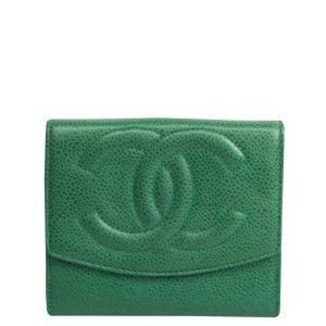 Chanel Green  Caviar Leather Bifold Wallet