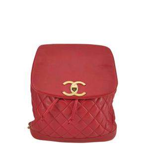 Chanel Red Caviar Leather Timeless Backpack